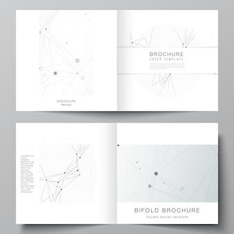 正方形の二つ折りパンフレットチラシ雑誌カバーデザインブックデザインパンフレットカバー灰色の技術の背景と接続線とドットネットワークの概念のための2つのカバーテンプレートのベクトルレイアウト