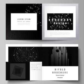 正方形のデザインの二つ折りパンフレットチラシカバーデザインブックdesiの2つのカバーテンプレートのベクトルレイアウト...