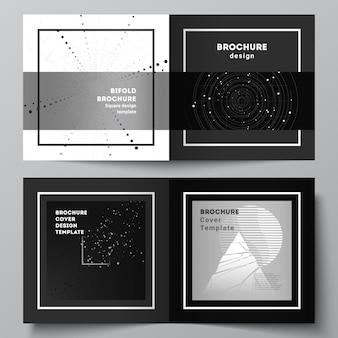 正方形のデザインの二つ折りパンフレット、チラシ、カバーデザイン、ブックデザインの2つのカバーテンプレートのベクトルレイアウト。黒い色の技術の背景。科学、医学、技術概念のデジタル視覚化。