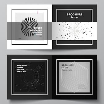 정사각형 디자인 이중 브로셔, 전단지, 표지 디자인, 책 디자인을 위한 두 개의 표지 템플릿의 벡터 레이아웃입니다. 블랙 컬러 기술 배경입니다. 과학, 의학, 기술 개념의 디지털 시각화.