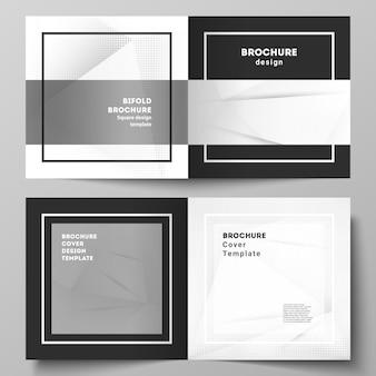 正方形のデザインの二つ折りパンフレット、チラシ、カバーデザイン、ブックデザイン、パンフレットカバーの2つのカバーテンプレートのベクトルレイアウト。ドットのあるハーフトーン効果の装飾。点線のポップアートパターンの装飾。