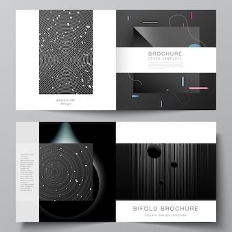 정사각형 디자인 이중 브로셔, 전단지, 잡지, 표지 디자인, 책 디자인, 브로셔 표지에 대한 두 개의 표지 템플릿의 벡터 레이아웃입니다. 기술 과학 미래 배경, 우주 천문학 개념.