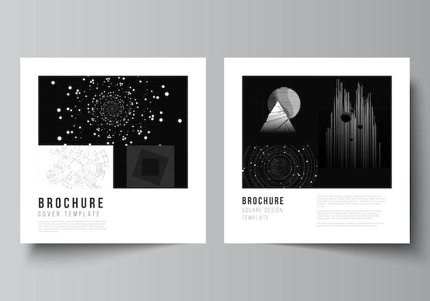 パンフレット、チラシ、雑誌、表紙のデザイン、本のデザインの2つの正方形のカバーデザインテンプレートのベクトルレイアウト。黒い色の技術の背景。科学、医学、技術概念のデジタル視覚化