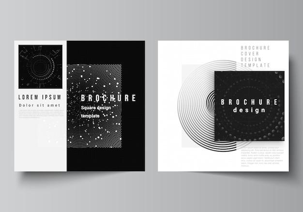 Векторный макет из двух квадратных обложек, шаблоны дизайна для брошюры, флаера, обложки журнала, дизайн книги, черный цвет, технологический фон, цифровая визуализация, наука, медицина, технологическая концепция