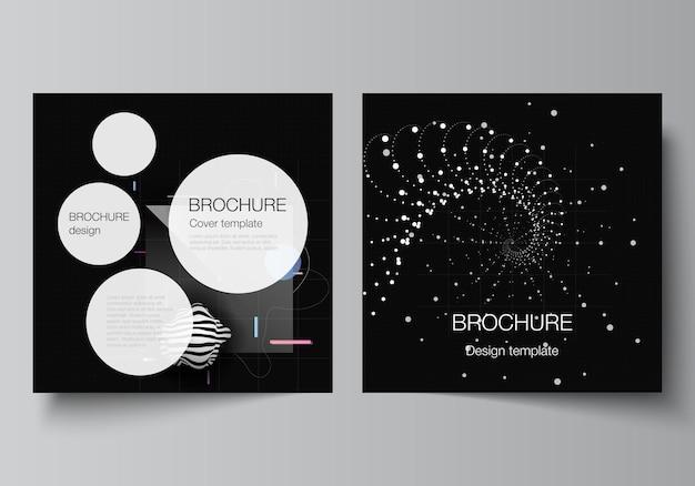 브로셔 전단지 표지 디자인 책 디자인 브로셔 표지 추상 기술 검은 색 과학 배경 디지털 데이터 하이테크 개념에 대 한 두 개의 사각형 커버 템플릿의 벡터 레이아웃 프리미엄 벡터
