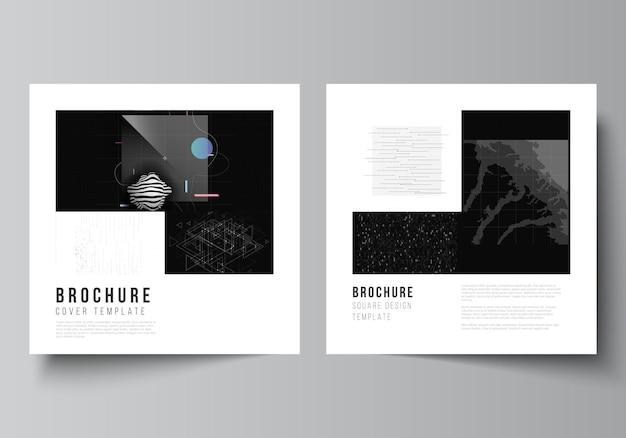 브로셔, 전단지, 표지 디자인, 책 디자인, 브로셔 표지에 대한 두 개의 사각형 표지 템플릿의 벡터 레이아웃입니다. 추상적인 기술 검은 색 과학 배경입니다. 디지털 데이터. 하이테크 개념입니다.