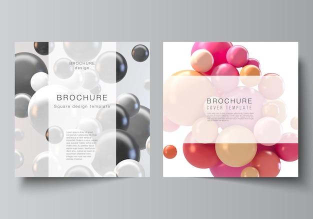 Векторный макет из двух квадратных обложек шаблонов для брошюры дизайн обложки листовки дизайн обложки брошюры абстрактный вектор футуристический фон с красочными сферами d глянцевые пузыри шары