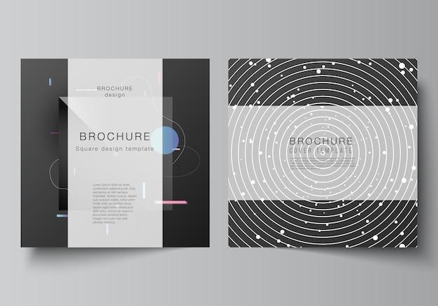 두 개의 정사각형 형식의 벡터 레이아웃은 브로셔, 전단지, 잡지, 표지 디자인, 책 디자인, 브로셔 표지에 대한 디자인 템플릿을 다룹니다. 기술 과학 미래 배경, 우주 천문학 개념.