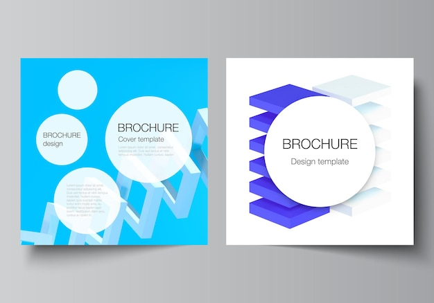두 개의 정사각형 형식의 벡터 레이아웃은 브로셔 전단지 표지 디자인 책 디자인 브로셔 템플릿을 다룹니다...