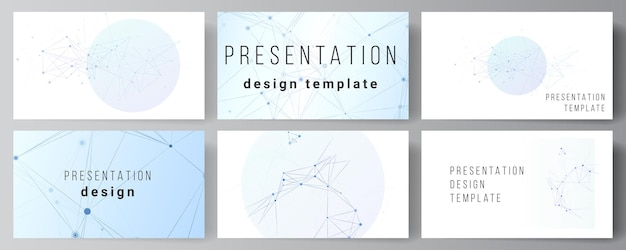 Vector layout of presentation slides design business templates, multipurpose template for presentation brochure, brochure cover, report. blue medical background with connecting lines and dots, plexus.