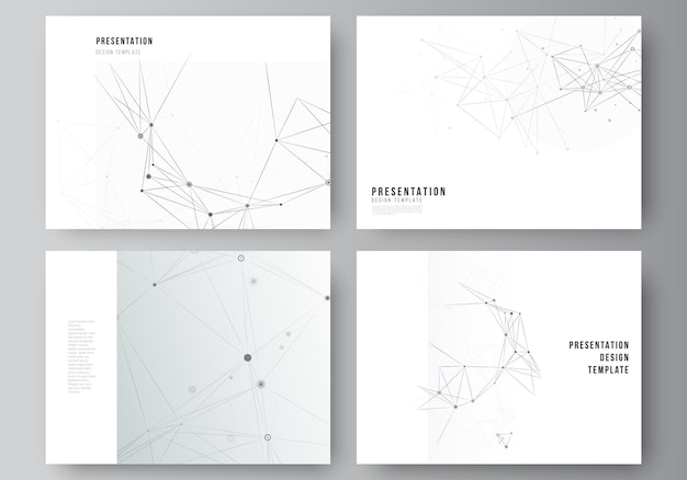 Vector layout of presentation slides design business templates template for presentation brochure brochure cover report gray technology background with connecting lines and dots network concept