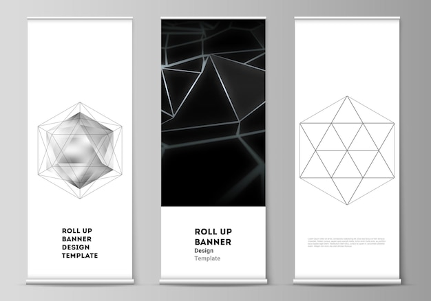 The vector layout of roll up banner stands vertical flyers flags design business templates d polygon...