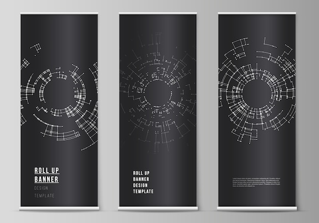 The vector layout of roll up banner stands