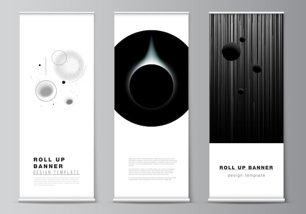 Vector layout of roll up mockup design templates for vertical flyers flags design templates banner s...