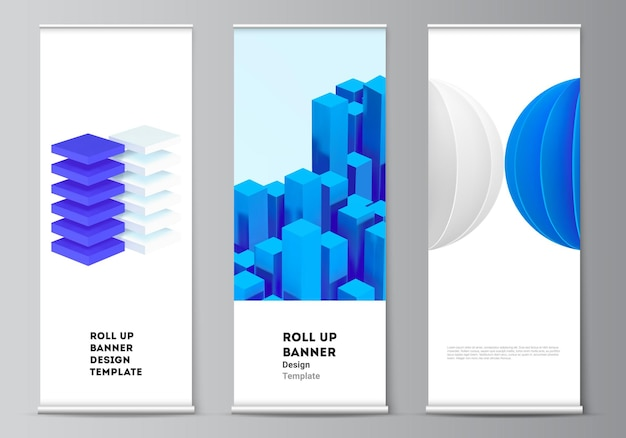 Vector layout of roll up mockup design templates for vertical flyers, flags design templates, banner stands, advertising. 3d render vector composition with dynamic realistic geometric blue shapes.