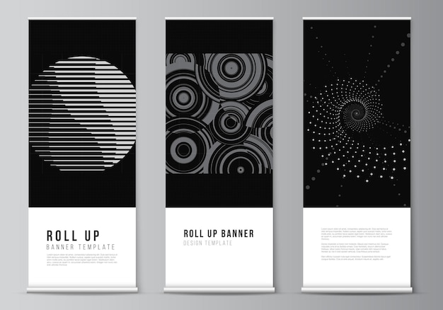 Vector layout of roll up mockup templates for vertical flyers flags design templates banner stands advertising abstract technology black color science background digital data high tech concept