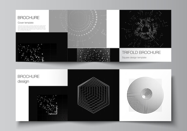 Vector layout of square covers design templates for trifold brochure flyer cover design book designblack color technology background digital visualization of science medicine technology concept