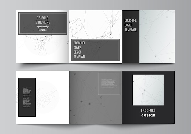 Vector layout of square covers templates for trifold brochure flyer cover design book design brochure cover gray technology background with connecting lines and dots network concept