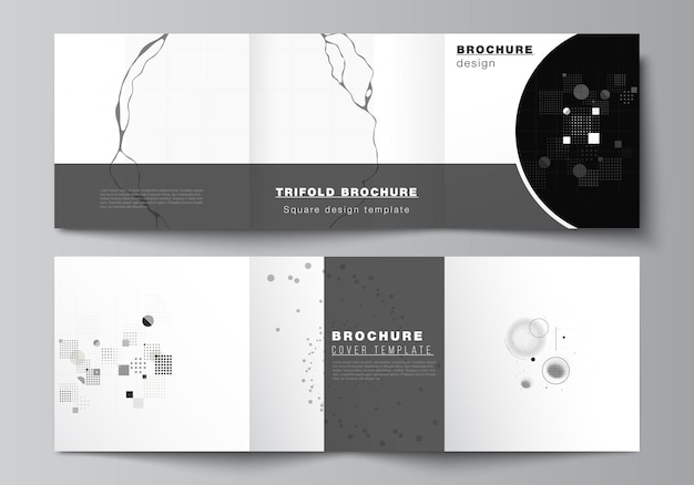 Vector layout of square covers templates for trifold brochure, flyer, magazine, cover design, book design. abstract technology black color science background.digital data. minimalist high tech concept Premium Vector