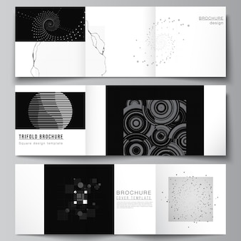 Vector layout of square covers templates for trifold brochure, flyer, magazine, cover design, book design. abstract technology black color science background.digital data. minimalist high tech concept