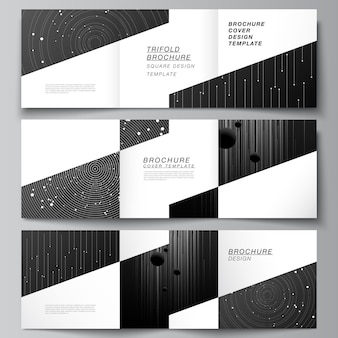 Vector layout of square format covers design templates for trifold brochure flyer magazine cover des...
