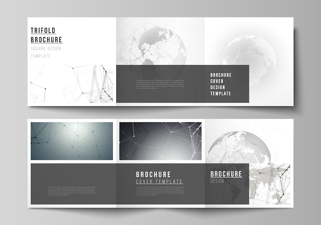 Vector layout of square format design template for trifold brochure. futuristic design with world globe, connecting lines and dots. global network connections, technology concept.