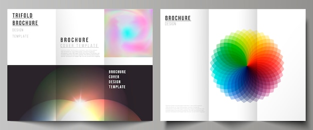 Vector layout templates for trifold brochure or flyer, abstract colorful geometric backgrounds