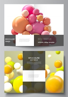 Vector layout of two a4 cover mockup templates for bifold brochure