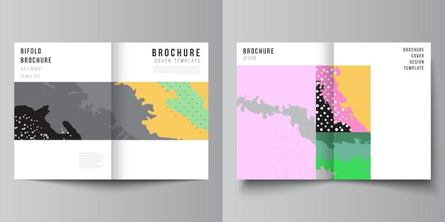 Vector layout of two a4 cover mockups design templates for bifold brochure, flyer, cover design, book design, brochure cover. japanese pattern template. landscape background decoration in asian style.