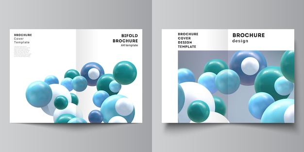 Vector layout of two a4 cover mockups template for bifold brochure, flyer, brochure cover.