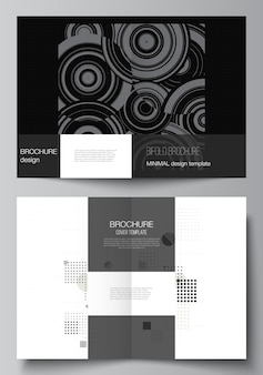 Vector layout of two a4 cover mockups templates for bifold brochure, flyer, cover design, book design. abstract technology black color science background. digital data. minimalist high tech concept.