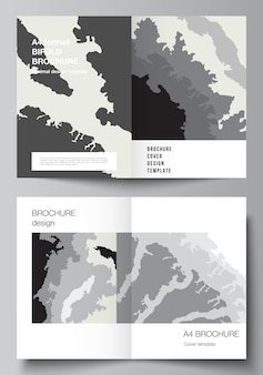 Vector layout of two a4 format cover mockups design templates for bifold brochure, flyer, cover design, book design, brochure cover. landscape background decoration, halftone pattern grunge texture.
