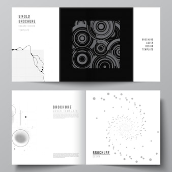 Vector layout of two covers templates for square bifold brochure flyer cover design book design broc...