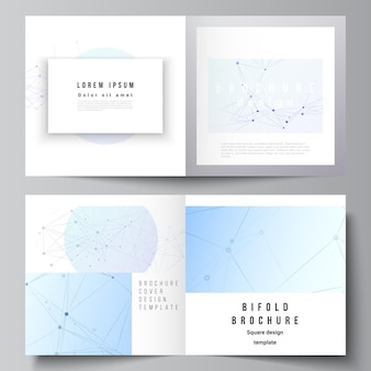 Vector layout of two covers templates for square bifold brochure, flyer, magazine, cover design, book design, brochure cover. blue medical background with connecting lines and dots, plexus.