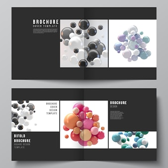 Vector layout of two covers templates for square bifold brochure