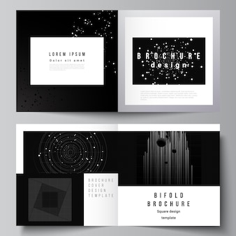 Vector layout of two covers templates for square design bifold brochure flyer cover design book desi...