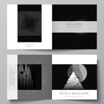 Vector layout of two covers templates for square design bifold brochure, flyer, cover design, book design. black color technology background. digital visualization of science, medicine, tech concept.