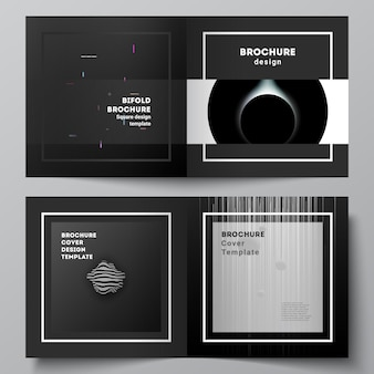 Vector layout of two covers templates for square design bifold brochure flyer magazine cover design book design brochure cover tech science future background space astronomy concept