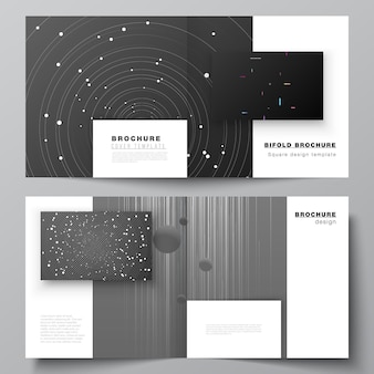 Vector layout of two covers templates for square design bifold brochure flyer magazine cover design ...