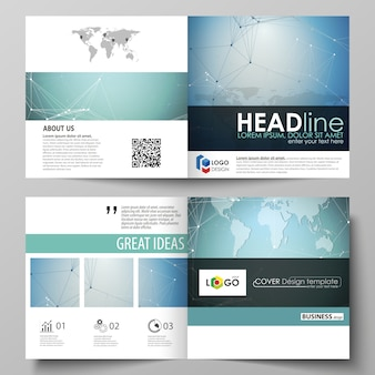 The vector layout of two covers templates for square design brochure