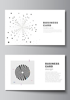 Vector layout of two creative business cards design templates, horizontal template vector design. black color technology background. digital visualization of science, medicine, technology concept.