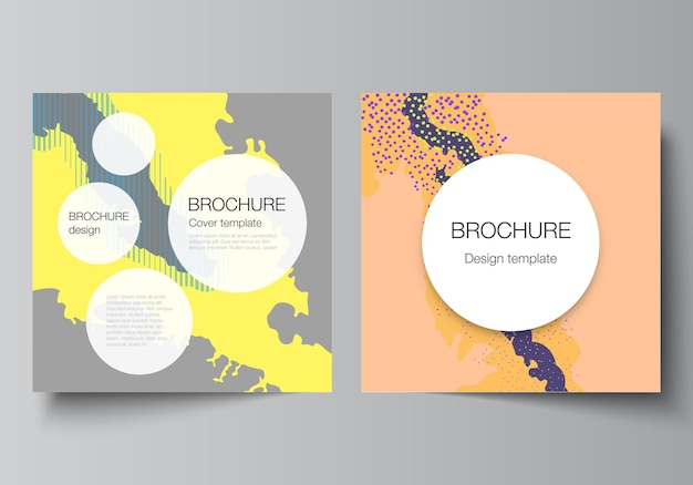 Vector layout of two square covers design templates for brochure flyer magazine cover design book design brochure cover japanese pattern template landscape background decoration in asian style