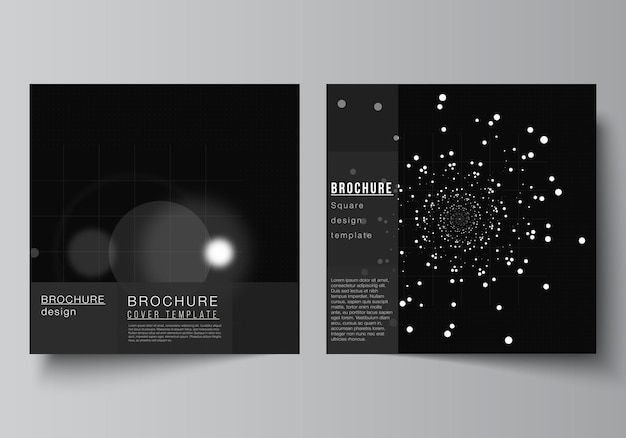 Vector layout of two square covers design templates for brochure flyer magazine cover design book designblack color technology background digital visualization of science medicine tech concept