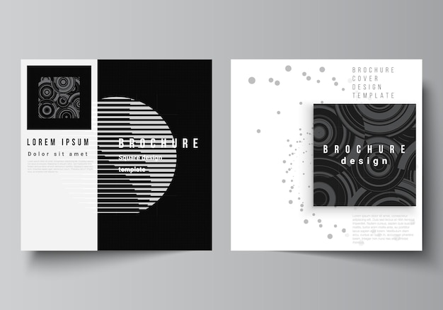 Vector layout of two square covers templates for brochure flyer cover design book design brochure cover abstract technology black color science background digital data high tech concept