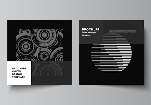 Vector layout of two square covers templates for brochure, flyer, cover design, book design, brochure cover. abstract technology black color science background. digital data. high tech concept.