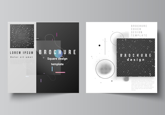 Vector layout of two square format covers design templates for brochure flyer magazine cover design book design brochure cover tech science future background space astronomy concept