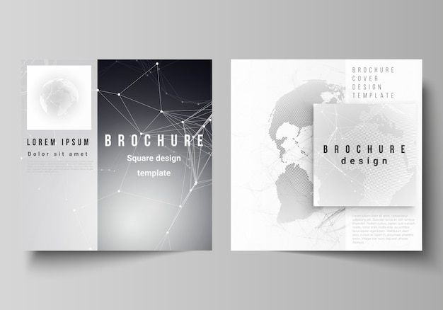 Vector layout of two square format covers design templates for brochure