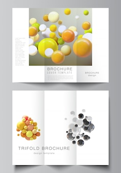 Vector layouts of covers design templates for trifold brochure
