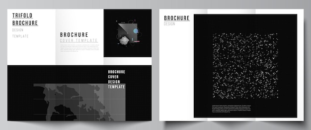 Vector layouts of covers templates for trifold brochure flyer layout book design brochure cover abst...