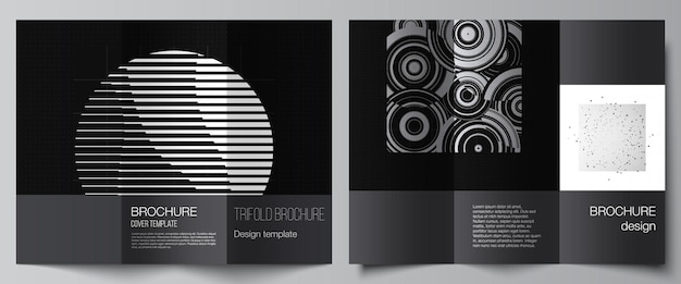 Vector layouts of covers templates for trifold brochure flyer layout book design brochure cover abstract technology black color science background digital data minimalist high tech concept